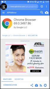 Google Chrome 69 Android